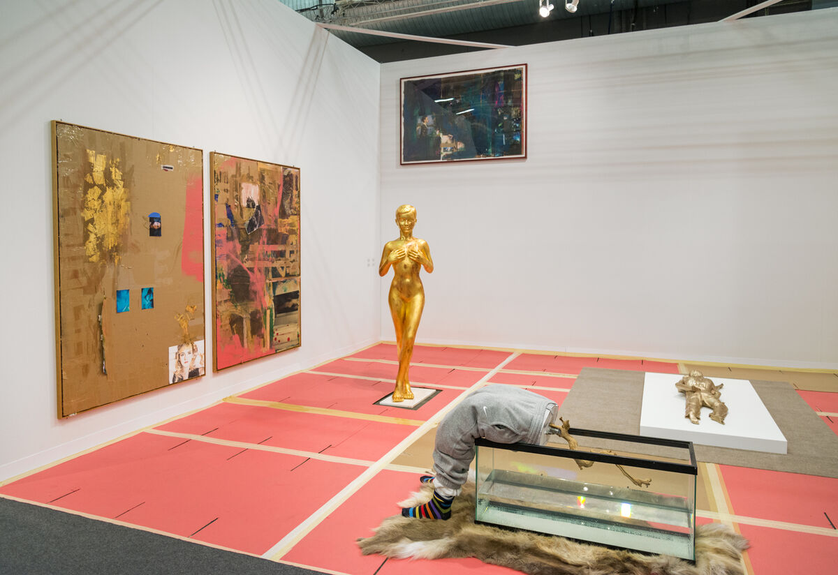 Installation view of Galerie Guido W. Baudach's booth at The Armory Show, 2016. Photo by Adam Reich for Artsy.