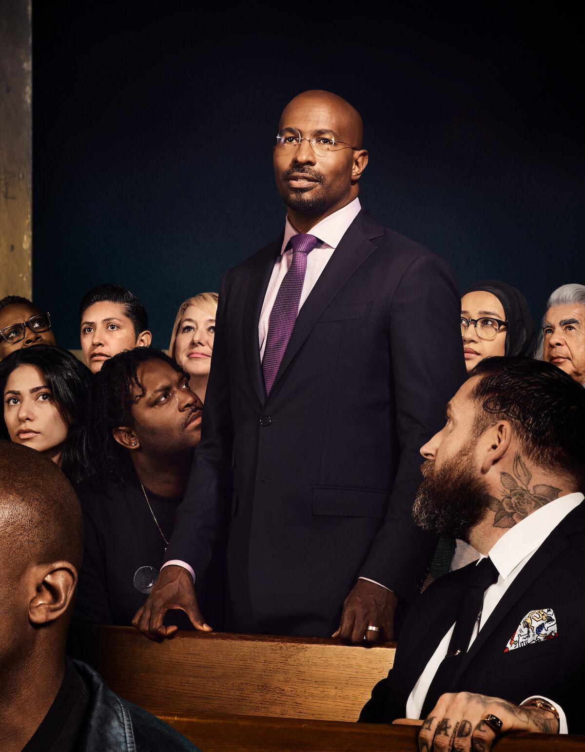 Interpretation of Norman Rockwell's Freedom of Speech by For Freedoms, featuring news commentator and author Van Jones (standing). Courtesy For Freedoms.