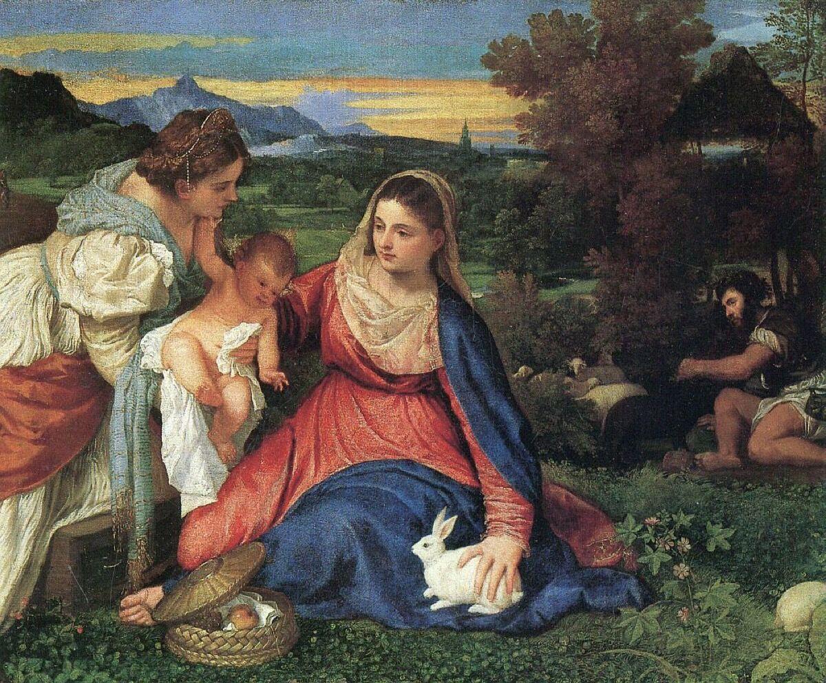 Titian, Madonna with Rabbit, c. 1530. Image via Wikimedia Commons.