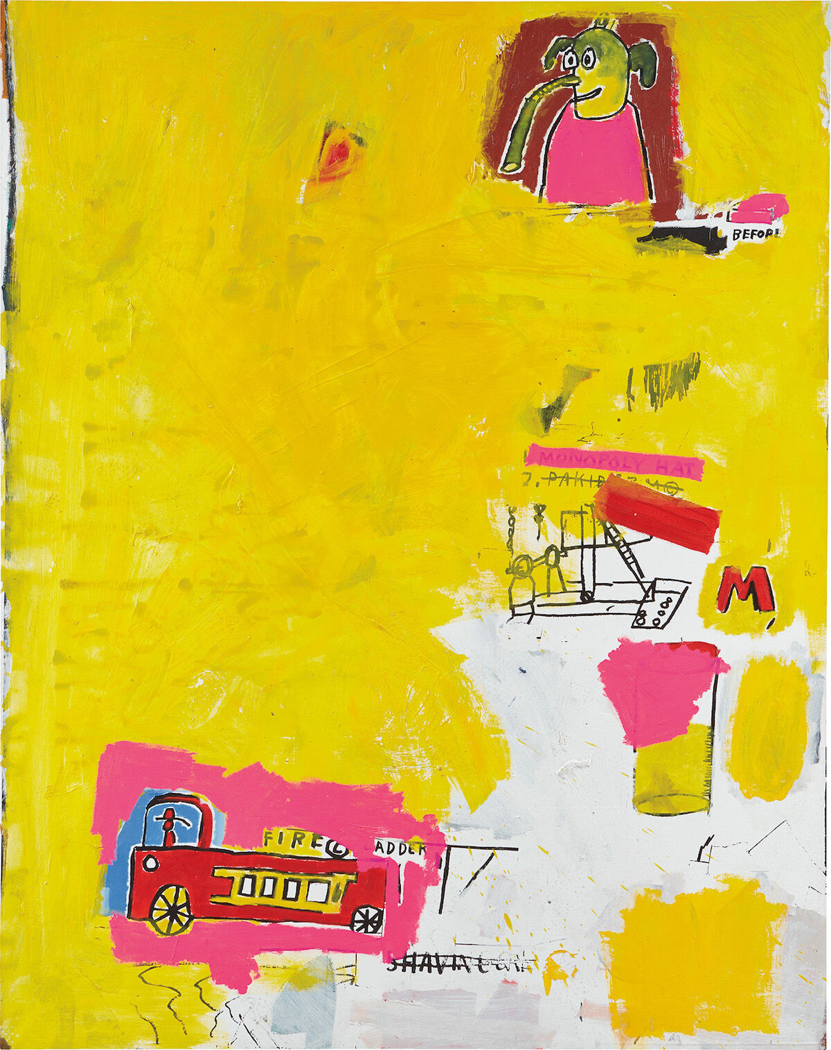 Jean-Michel Basquiat, Pink Elephant with Fire Engine, 1984. Est. £3 million–4 million. Courtesy Phillips.
