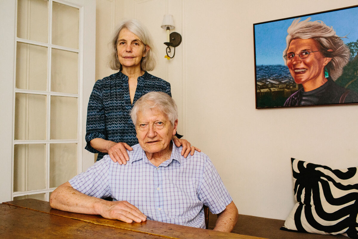 Portrait of Sally and Peter Saul in their Upper East Side apartment by Stephanie Noritz for Artsy. Pictured: Painting of Sally in Montmartre, Paris in 2006 by Peter Saul.