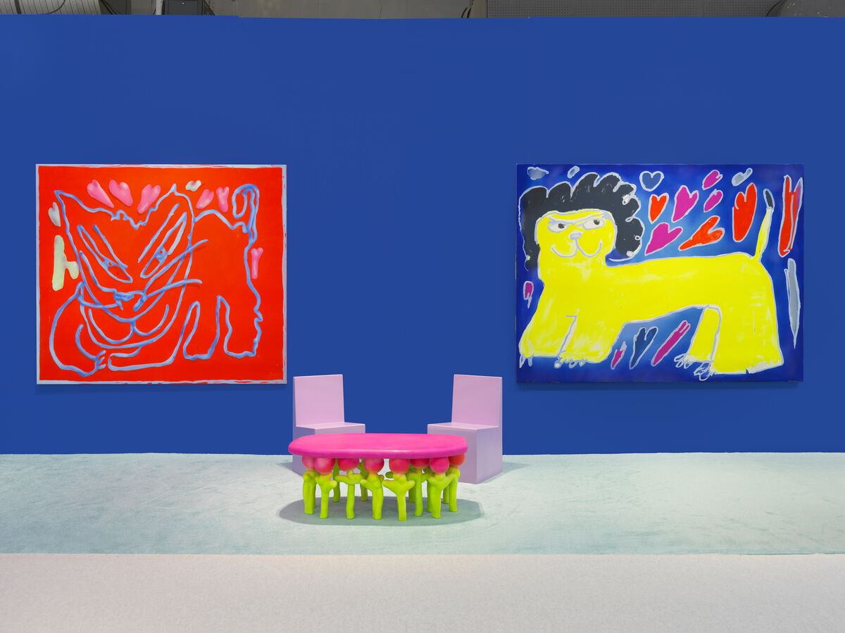 """Austin Lee, installation view of """"Austin Lee: ❀✿✿✿❀"""" in Jeffrey Deitch's booth at The Armory Show, New York, 2020. Photo by Genevieve Hanson. Courtesy of the artist and Jeffrey Deitch, New York / Los Angeles."""