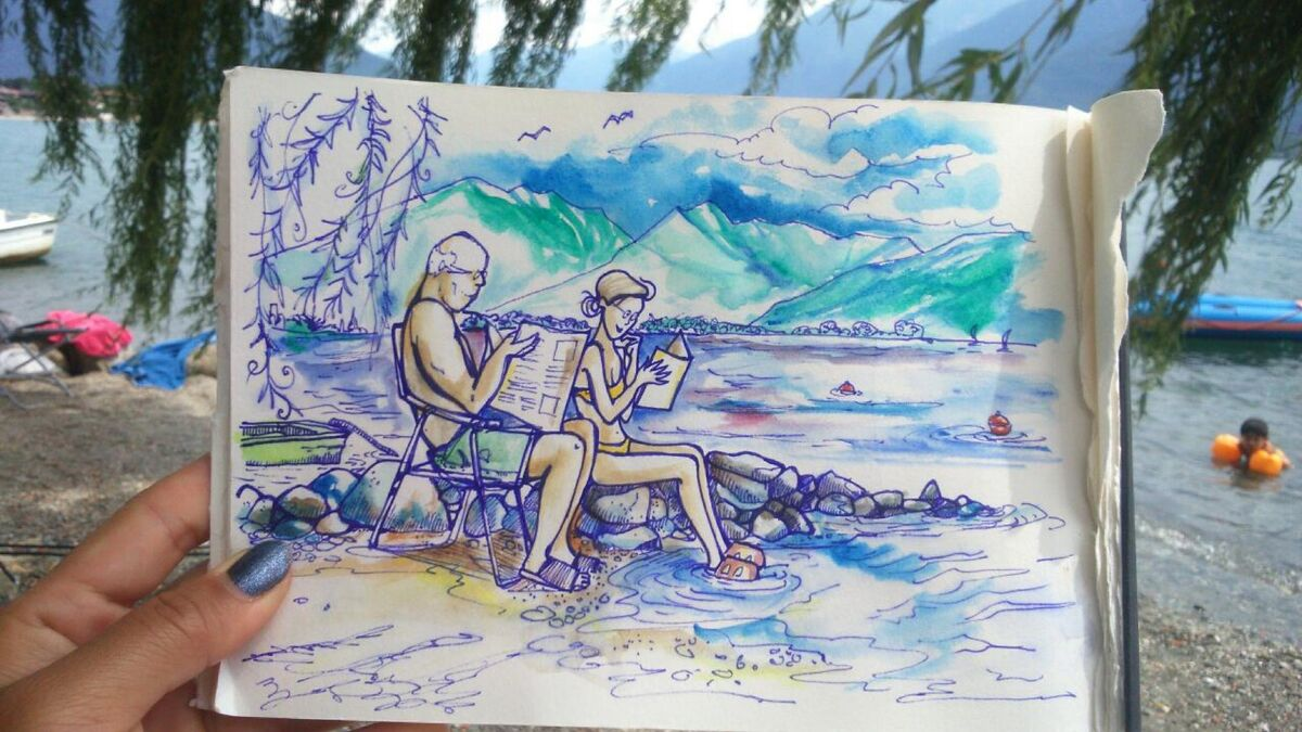 Lake Como Love Stories. Sketch by Nikki Martinez. Courtesy of the artist.