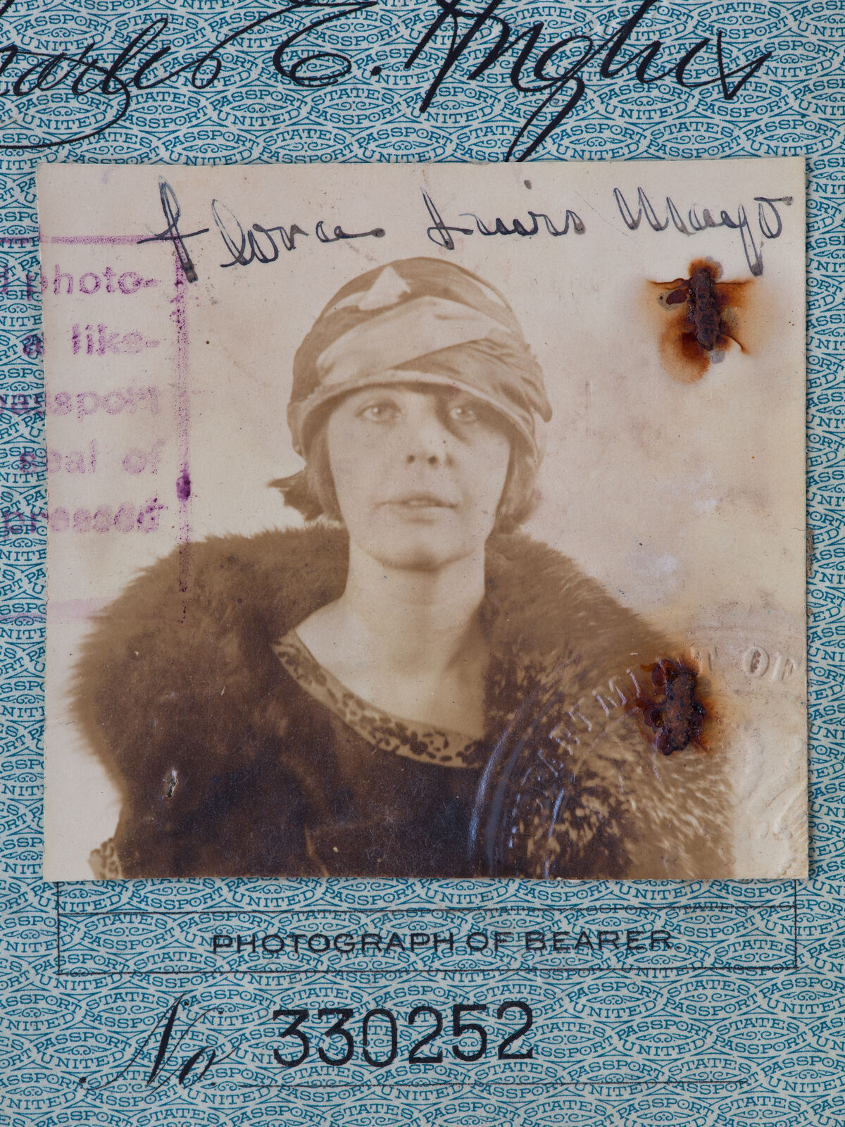 Production still from Teresa Hubbard and Alexander Birchler, Flora, 2017. Flora Mayo's passport issued 1923. Courtesy of the Artists and Tanya Bonakdar Gallery, New York and Lora Reynolds Gallery, Austin.