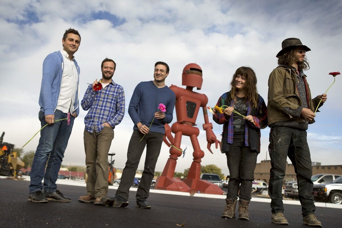 Founding members of Meow Wolf: Corvas Brinkeroff, Sean Di Ianni, Vince Kadlubek, Caity Kennedy, Matt King. Courtesy of Meow Wolf.