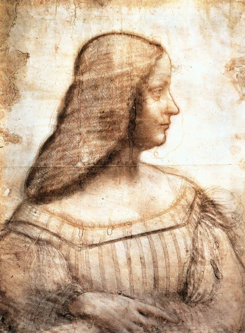 Leonardo da Vinci, Caricatura de un retrato de Isabella d & # x27; Este, c.  1500. Imagen a través de Wikimedia Commons.