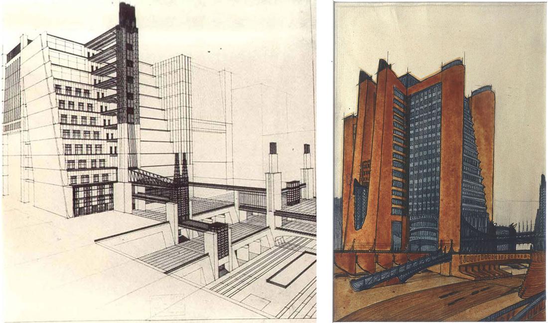 Left: Antonio Sant'Elia,Casa a gradinata con ascensori dai quattro piani stradali, 1914; Right: Antonio Sant'Elia,Casa a gradinata, 1914. Images via Wikimedia Commons.