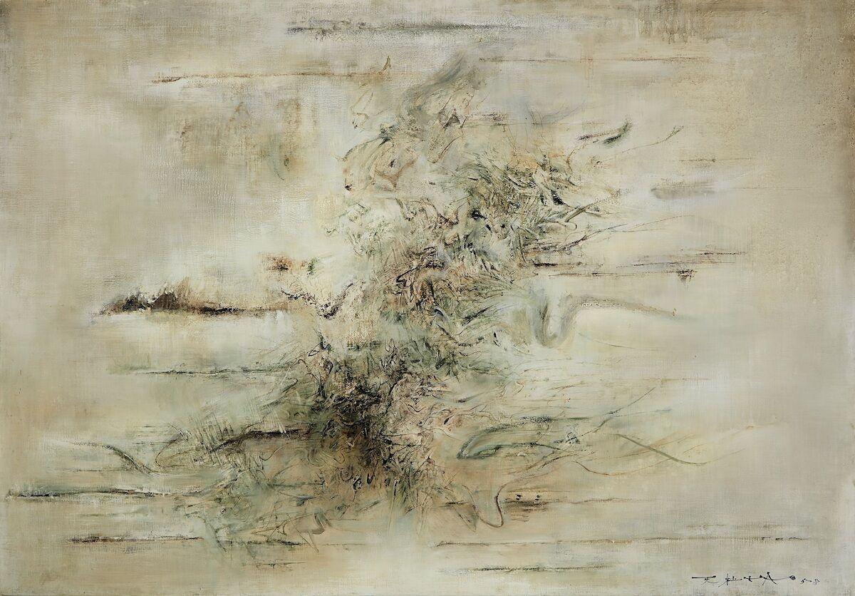 Zao Wou-Ki, Untitled, 1958, oil on canvas. Est. HK$60 million–80 million, approx. US$7.7 million–10 million. Courtesy Sotheby's.