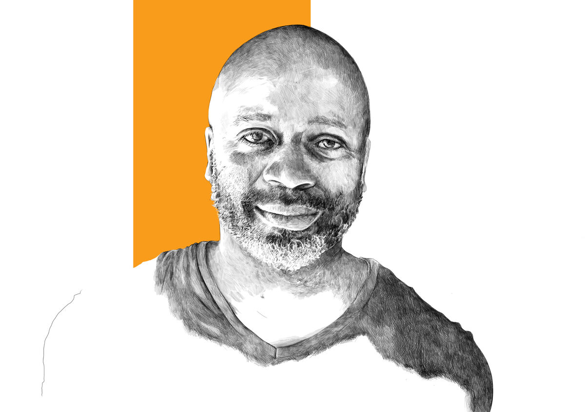 Illustration of Theaster Gates by Rebecca Strickson for Artsy, based on a photograph by korhan karaoysal. Original photograph courtesy of the artist.