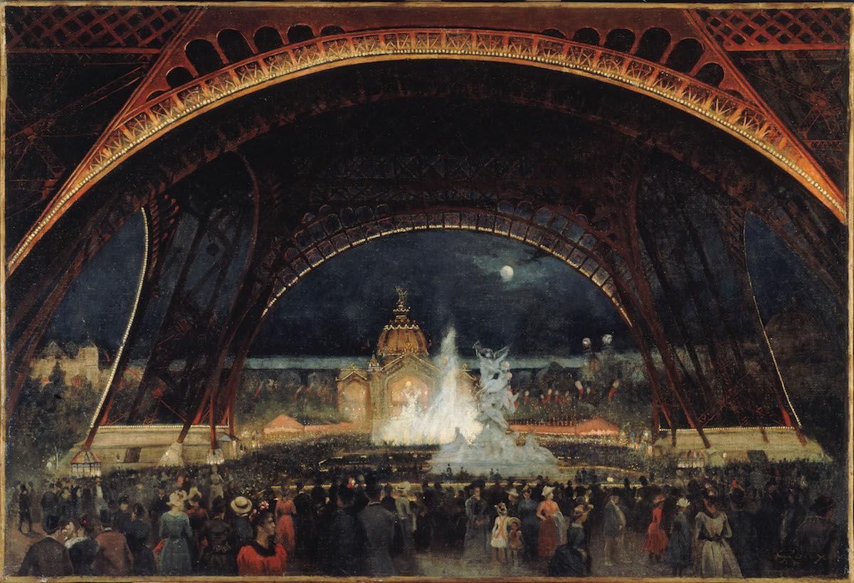 George Roux, Fête de nuit à l'Exposition universelle de 1889, sous la tour Eiffel, ca. 1889. Musée Carnavalet, Histoire de Paris. CC0 Paris Musées / Musée Carnavalet.
