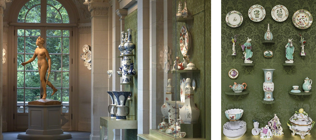 "Installation view of ""Porcelain, No Simple Matter: Arlene Shechet and the Arnhold Collection."" Photo by Michael Bodycomb, courtesy of The Frick Collection."