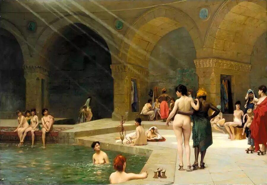 Jean-Léon Gérôme, The Great Bath at Bursa, 1885. Via Wikimedia Commons.