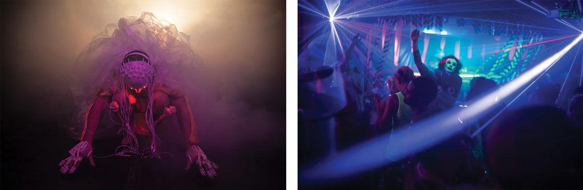 Left: Pink Bubble (performance by Justin Shoulder), 2016. Right: Mosta Gras, 2016. Photos © Alex Davies.