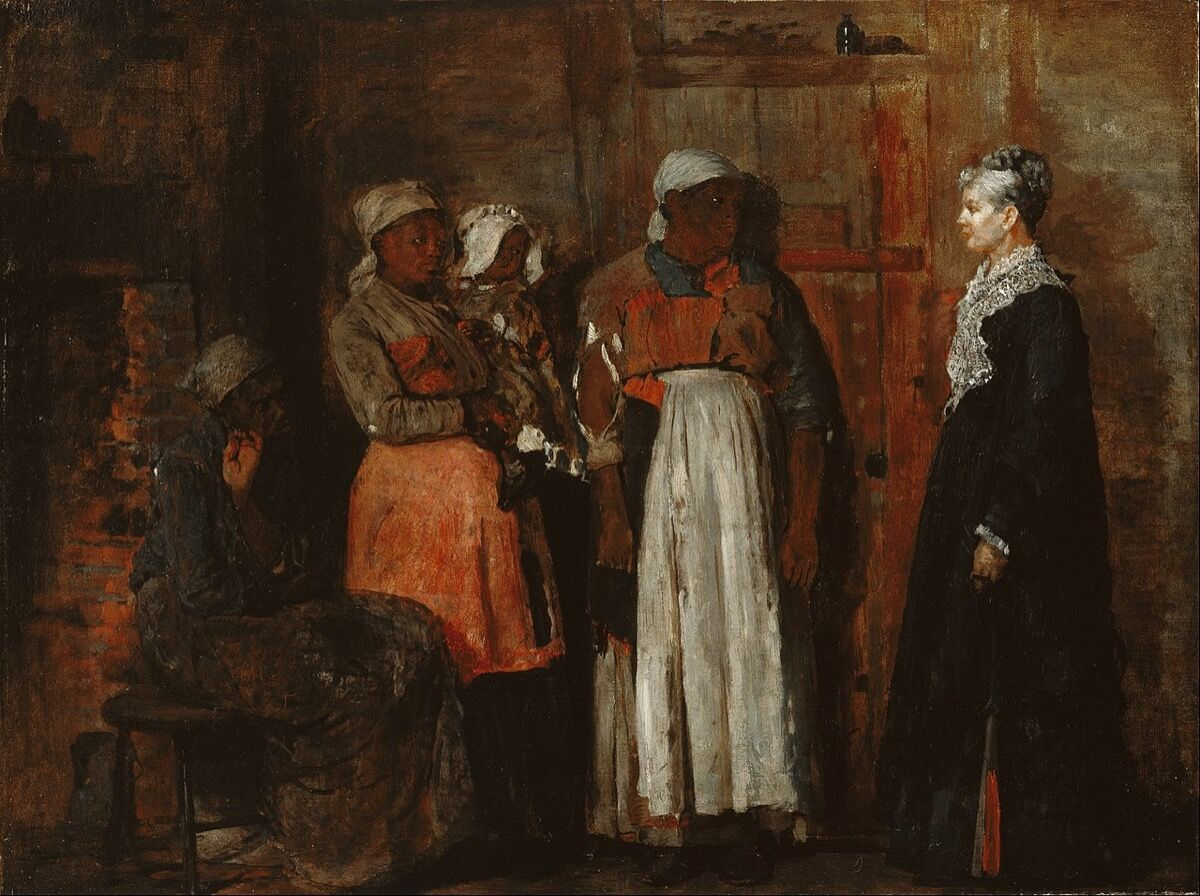 Winslow Homer, A Visit from the Old Mistress, 1876. Photo via Wikimedia Commons.