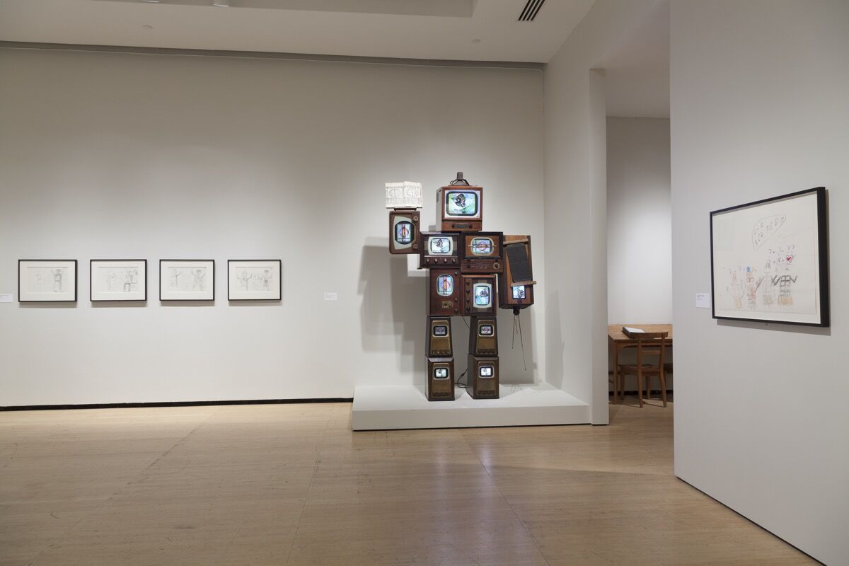 """Installation view of """"Nam June Paik: Becoming Robot"""" at Asia Society Museum, New York, 2014-15. Photo by Eileen Costa. Courtesy of the Estate of Nam June Paik and Asia Society."""