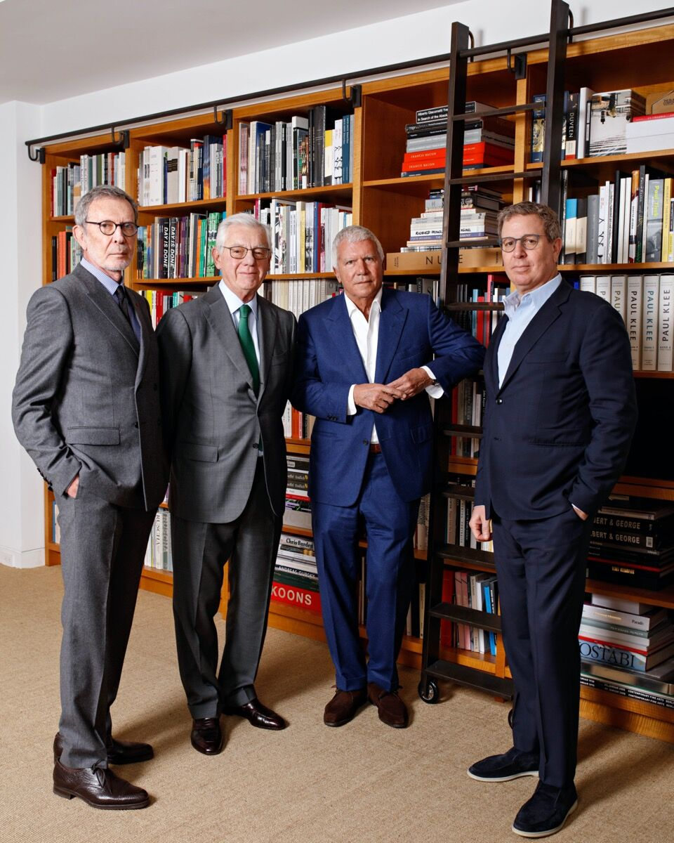 Portrait of Arne Glimcher (far left) and Bill Acquavella (center left) with Larry Gagosian (center right) and Marc Glimcher (far right). © Axel Dupeux. Courtesy of Pace Gallery.