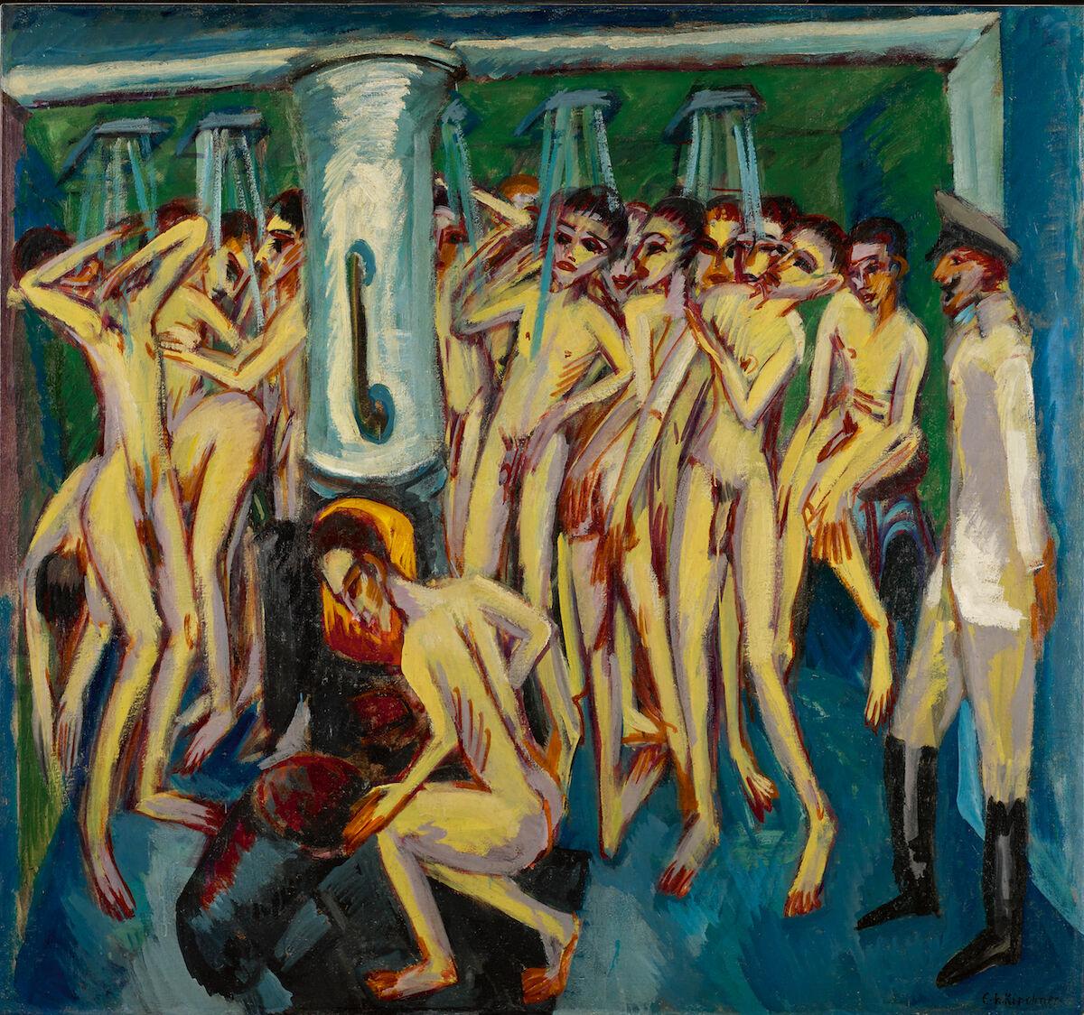 """Ernst Ludwig Kirchner, Das Soldatenbad (""""Artillerymen""""), 1915. Courtesy Sotheby's."""