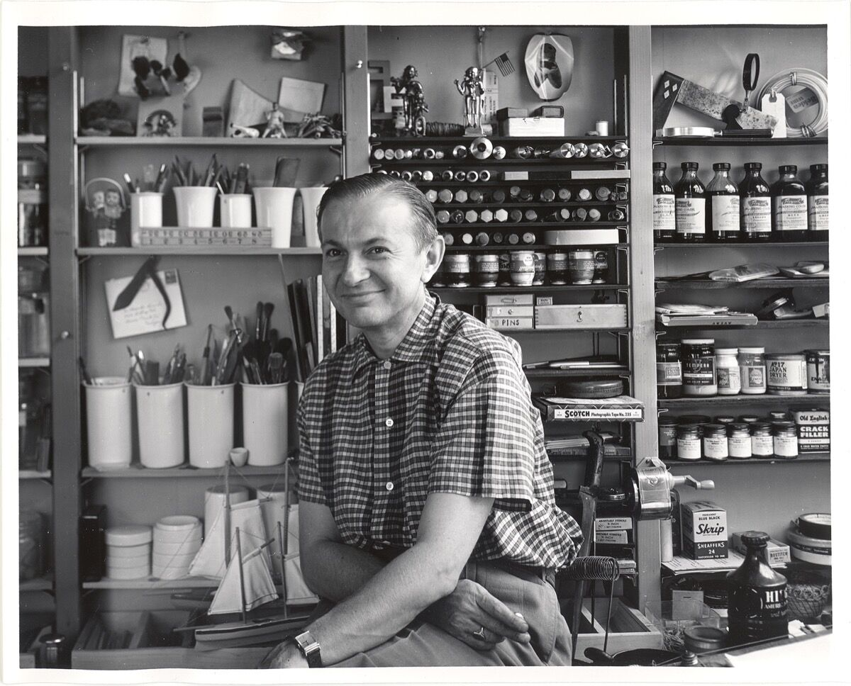 Alexander Girard in his studio, early 1950's. Photo by Charles Eames. Courtesy of the Museum of International Folk Art (MOIFA).