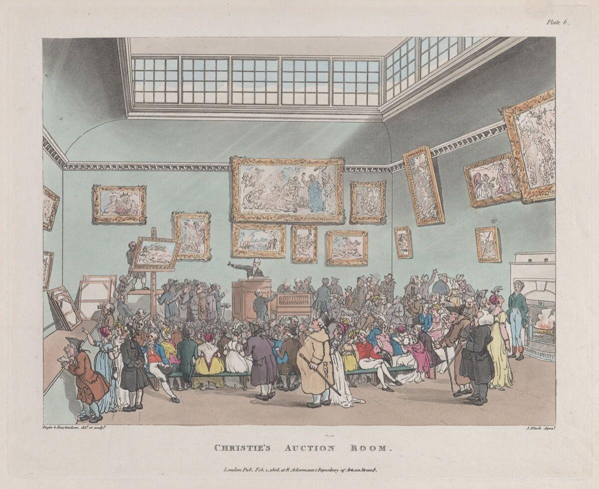 Thomas Rowlandson, Christie's Auction Rooms, 1808. Courtesy of The Metropolitan Museum of Art.