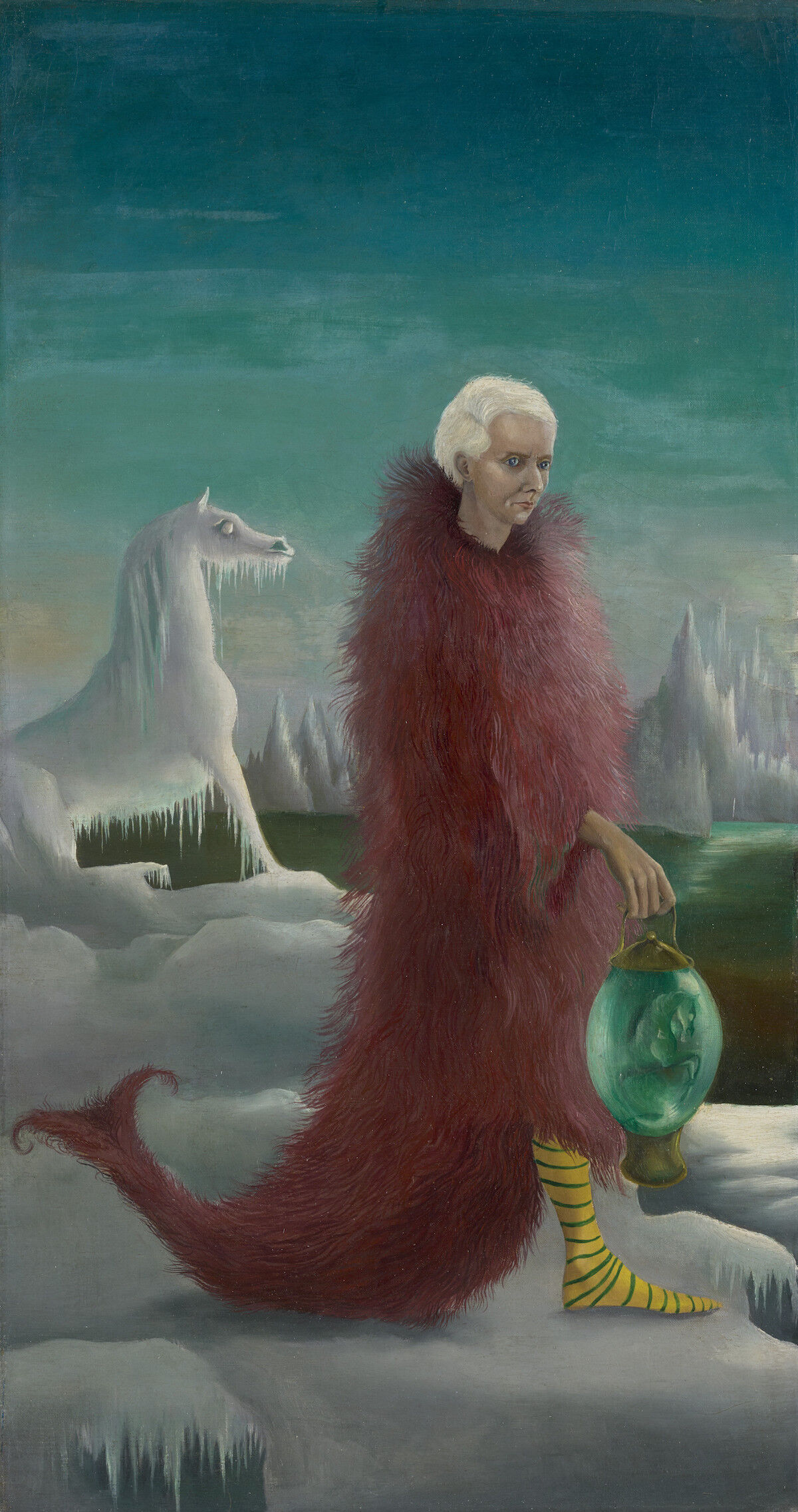 Leonora Carrington, Portrait of Max Ernst, circa 1939,  oil on canvas, 50.3 x 26.8 cm, 19.8 x 10.6 in. Courtesy of the National Galleries of Scotland, copyright the estate of Leonora Carrington, DACS, 2018.