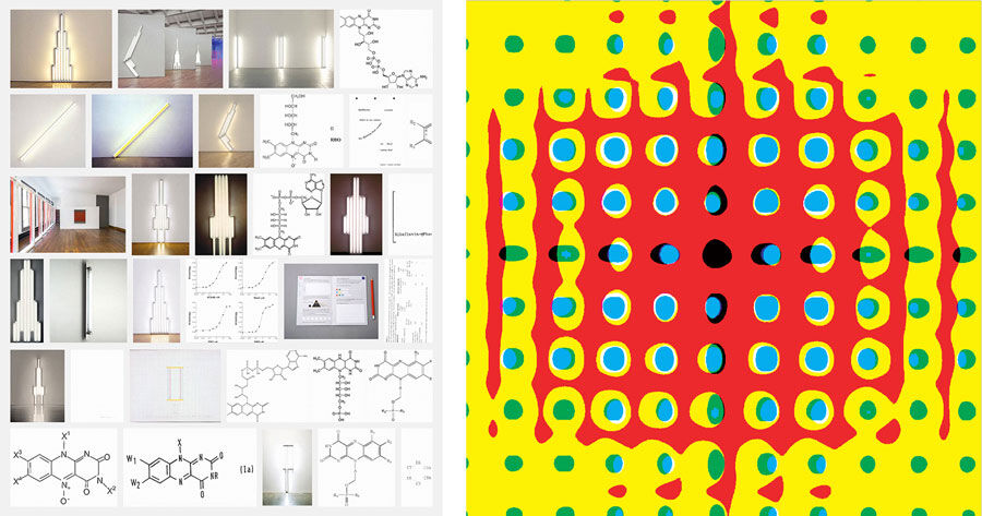 Left: Paul Kremer, Flavin Diagram (email), 2015, archival ink on canvas, 84 x 72 in. 213.36 x 182.88 cm. Right: Susie Rosmarin, Yellow (email), 2015, archival ink on canvas, 90 x 90 in. 228.6 x 228.6 cm. Courtesy of Marlborough Chelsea and the artists.