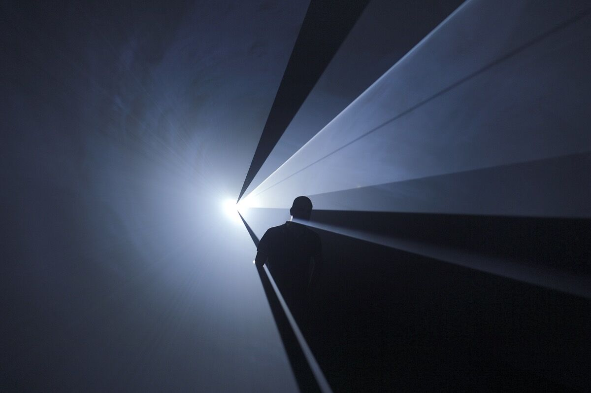 Installation view of Anthony McCall, You and I Horizontal, 2005 at Institut d'art contemporain, Villeurbanne, France, 2006. Photo by Blaise Adilon. Courtesy of Albright-Knox Art Gallery.