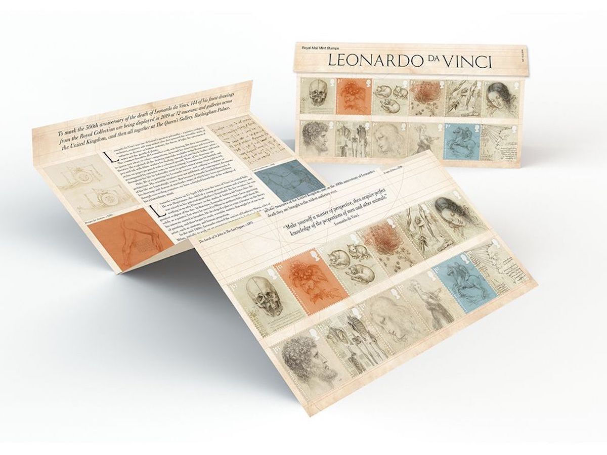The new Royal Mail stamps honoring Leonardo da Vinci. Courtesy Royal Mail.