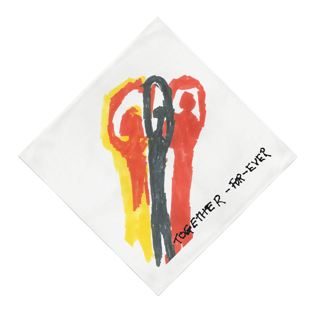 """A bandana design for """"Artists Band Together"""" by Luchita Hurtado. Courtesy Artists Band Together."""