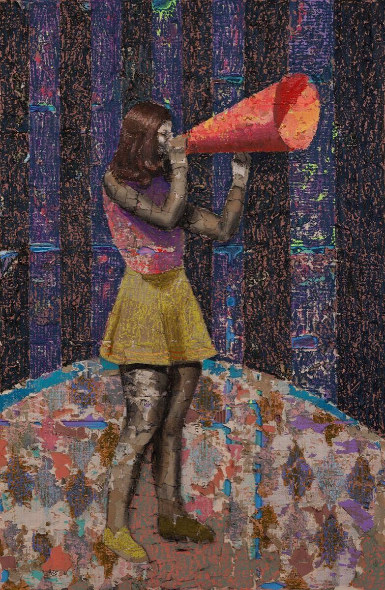 Derek Fordjour, Figure with Horn, 2017. Courtesy of Sugar Hill Children's Museum of Art and Storytelling.