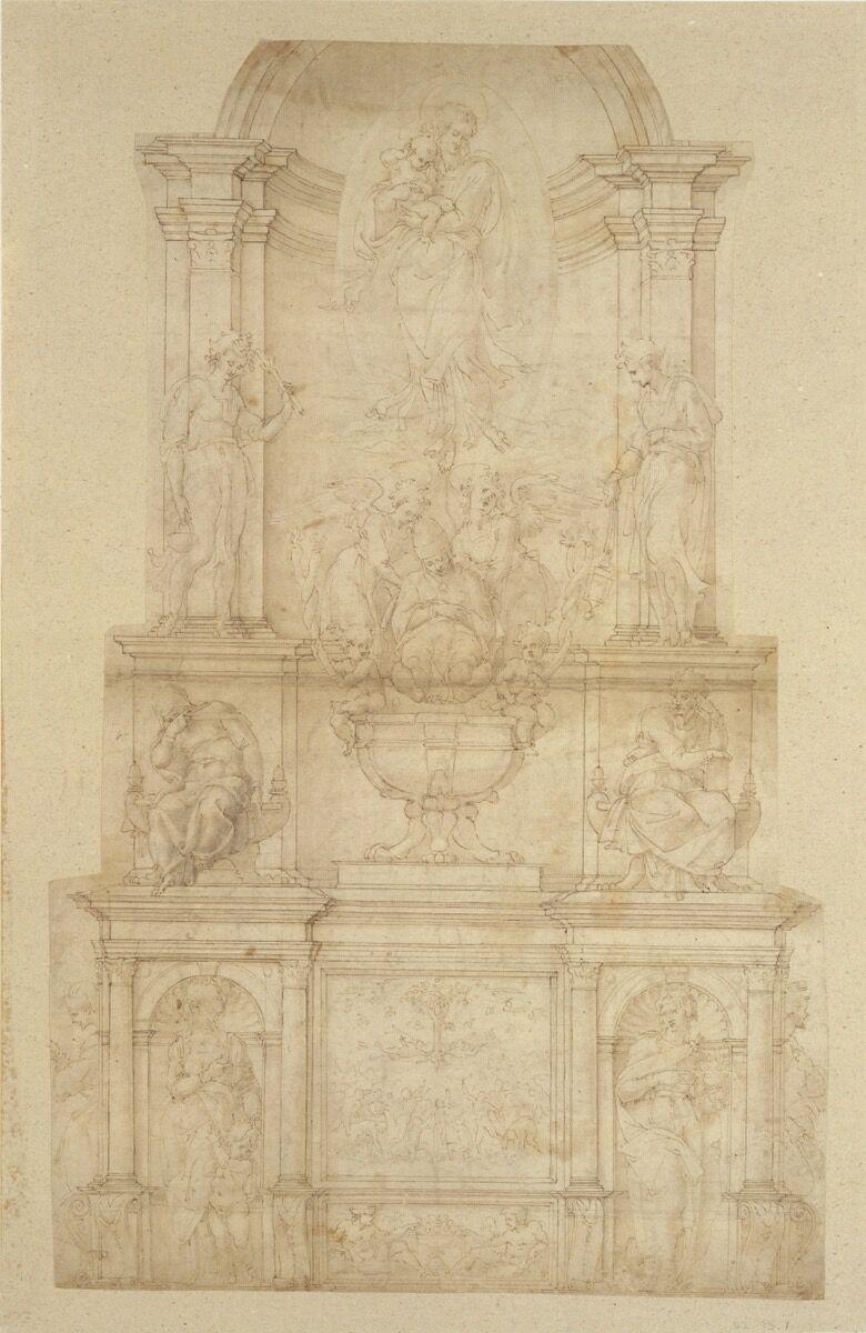 Michaelangelo Buonarroti, Design for the Tomb of Pope Julius II della Rovere, 1505-6. Courtesy of the Metropolitan Museum of Art.