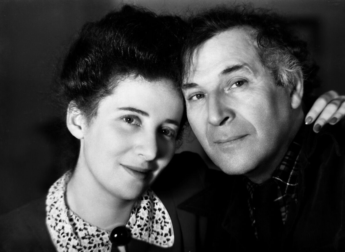 Headshot portrait of artist Marc Chagall and his daughter Ida Chagall, 1945. Photo by University of New Hampshire/Gado/Getty Images.