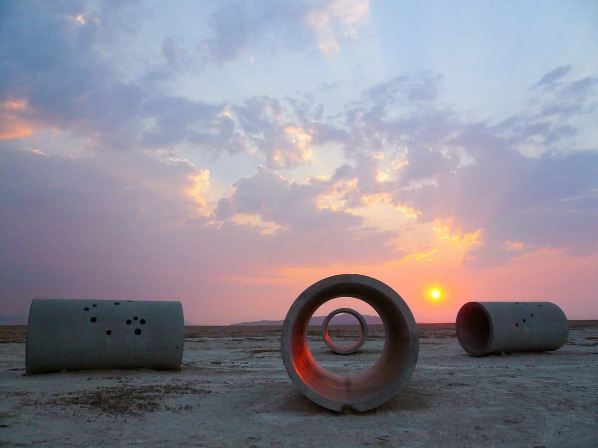 Nancy Holt,  Sun Tunnels , at the Great Basin Desert, Utah, 1973-76. © Holt/Smithson Foundation and Dia Art Foundation/Licensed by VAGA at ARS, New York. Photo by ZCZ Films/James Fox. Courtesy of the Holt/Smithson Foundation.