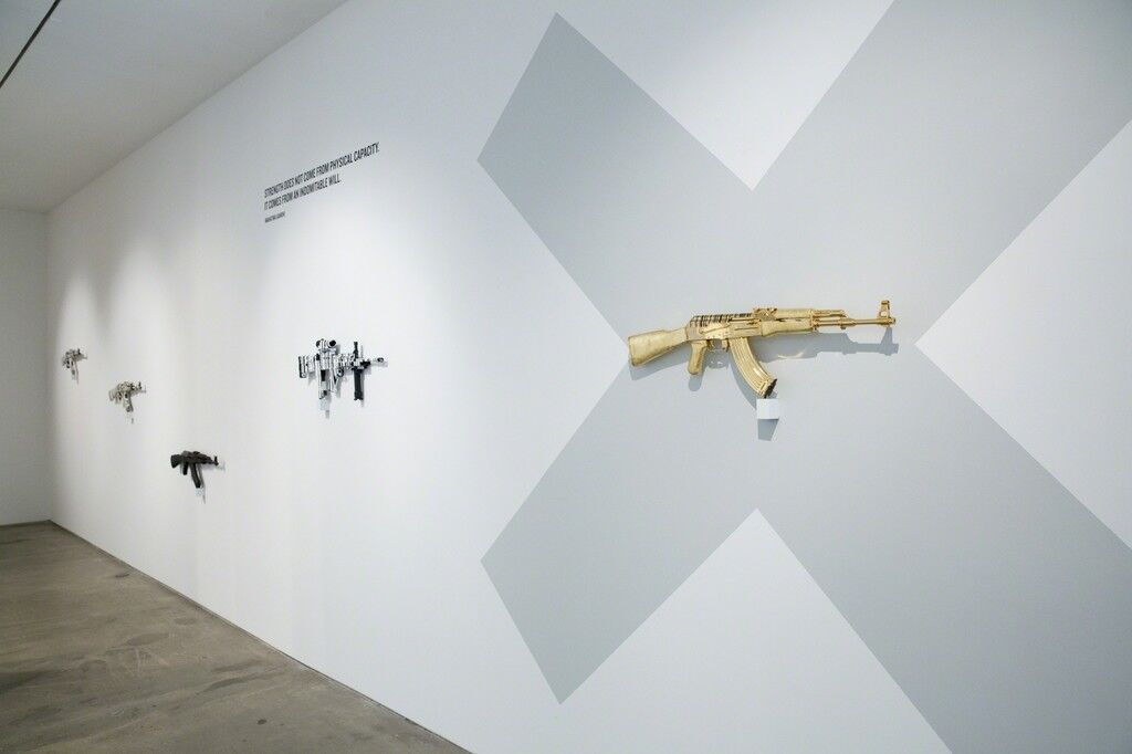 "Installation view of ""History Interrupted, The Art of Disarmament,"" Hoerle-Guggenheim Gallery, New York. Courtesy Hoerle-Guggenheim Gallery and the artist."