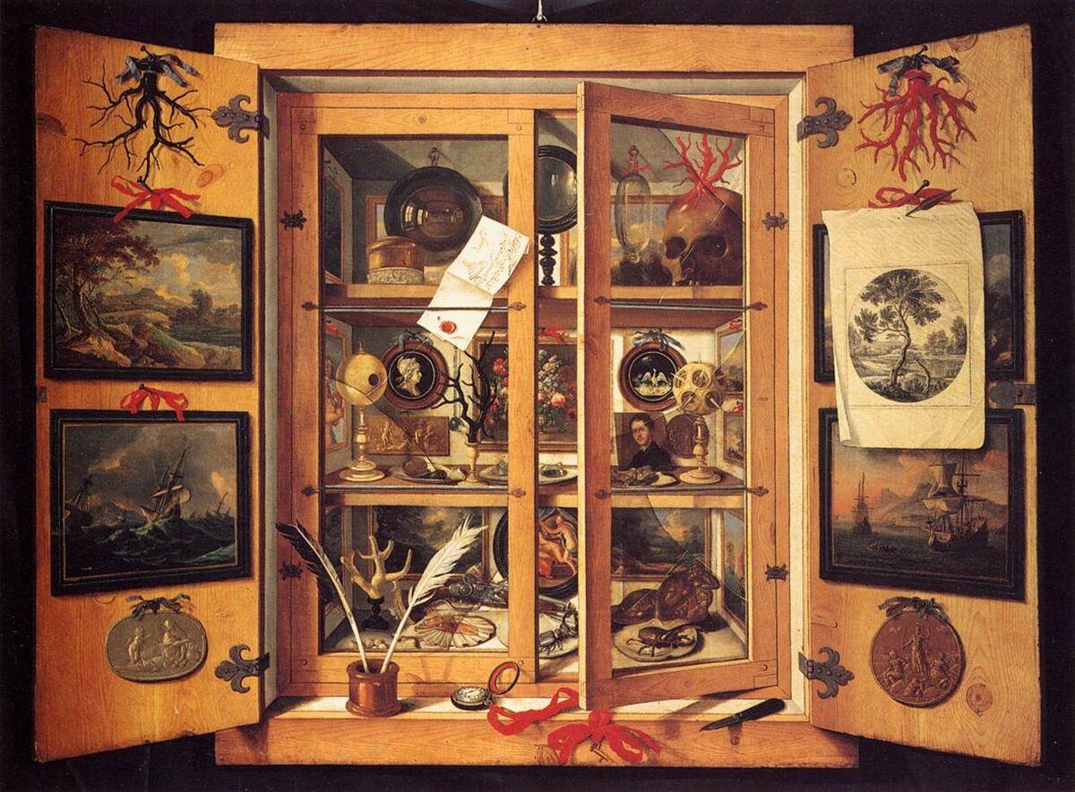 Domenico Remps, Cabinet de curiosités, ca.  1690. Image via Wikimedia Commons.