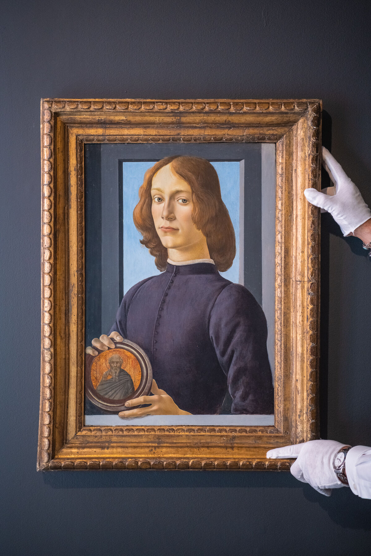 Sandro Botticelli, Young Man Holding a Roundel, ca. late 1470s–early 1480s. Est. in excess of $80 million. Courtesy Sotheby's.