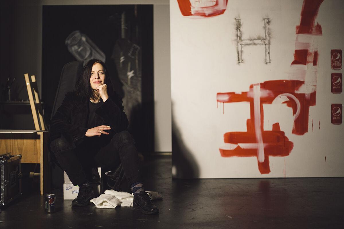 Portrait of Anne Imhof in her Frankfurt studio by Nadine Fraczkowski.