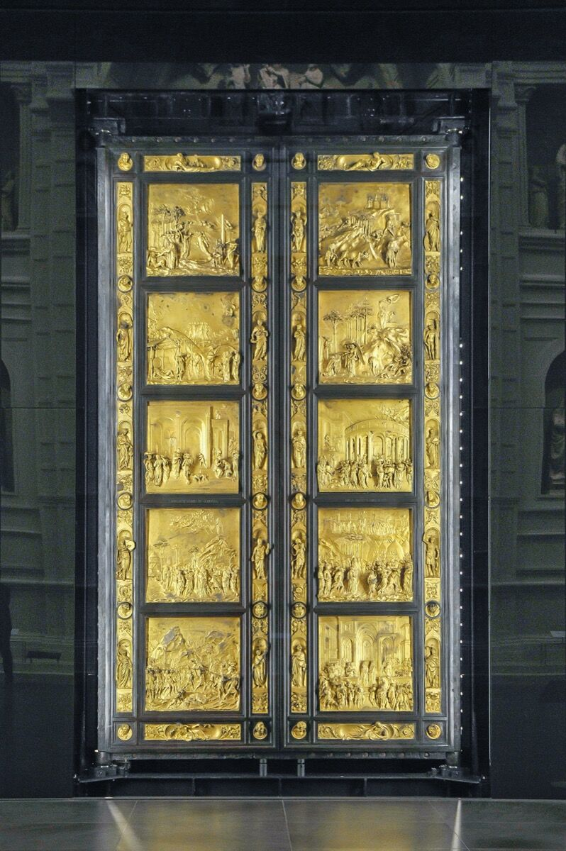A view of the Gates of Paradise or East Doors made by Lorenzo Ghiberti is displayed on December 6, 2019 in Florence, Italy. Photo by Laura Lezza. Image via Getty Images.