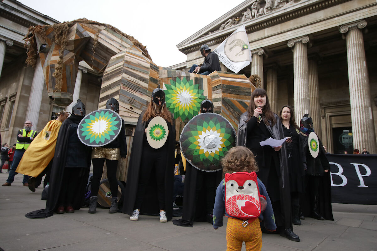 The BP Must Fall protest organized by BP or Not BP? at the British Museum on February 8, 2020. Photo by Steve Eason, via Flickr.