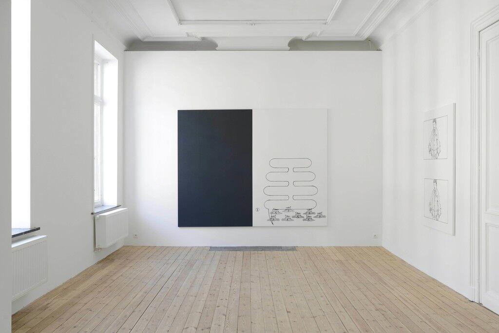 Installation view of Oliver Osborne, courtesy of Galerie Catherine Bastide
