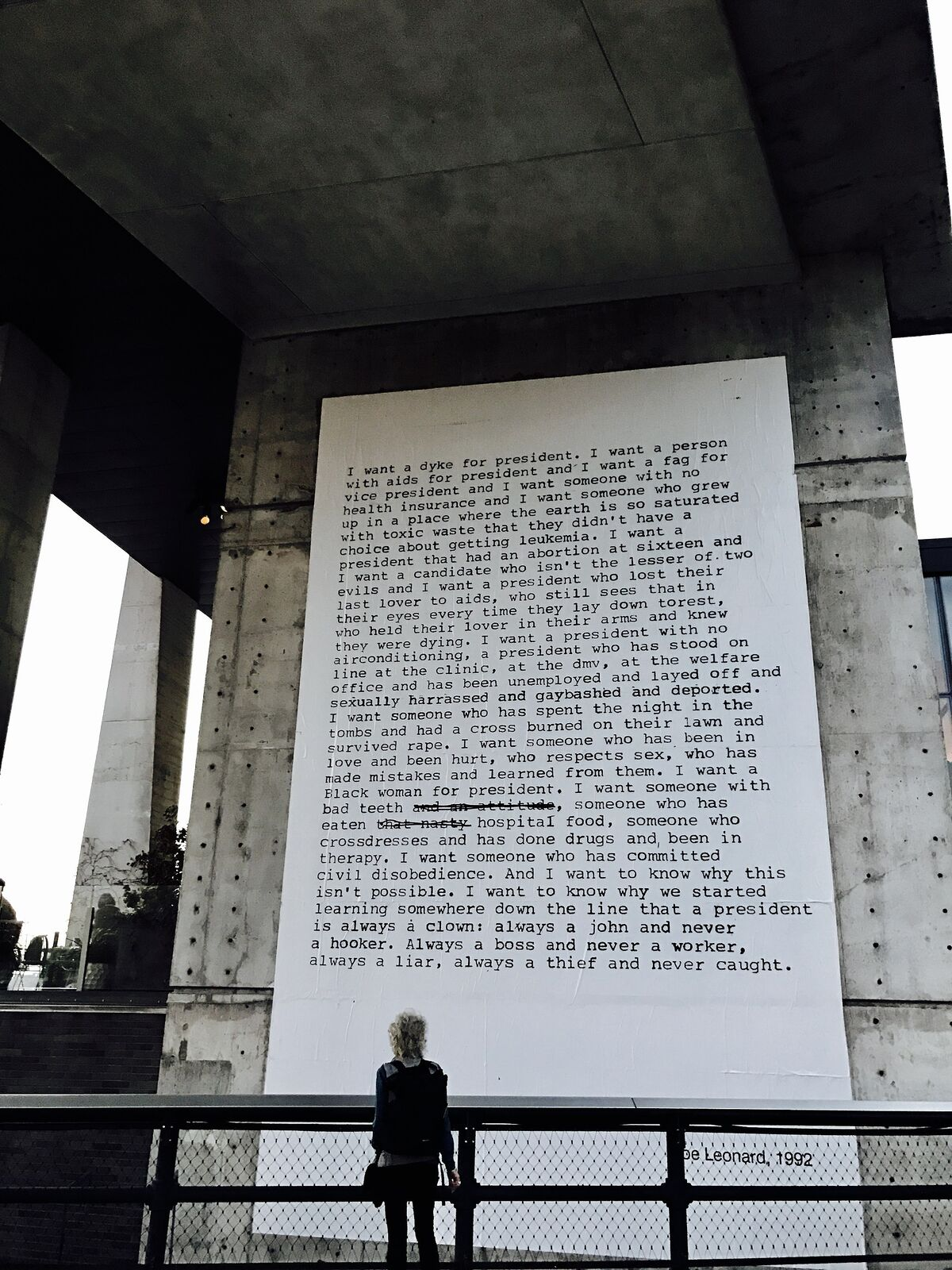 "Zoe Leonard, ""I Want a President,"" installed at the High Line, New York, 2016. Image via Wikimedia Commons."