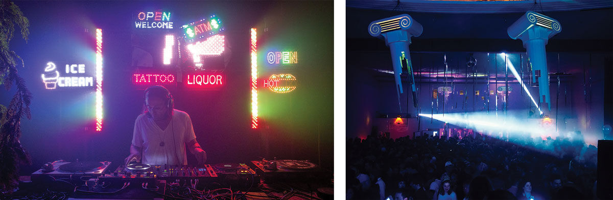 Left: DJ Sprinkles at F8. Photo© Johan Aardal. Right: New Years Eve 2016 at Mighty. Photo© Jeffrey McMahan.