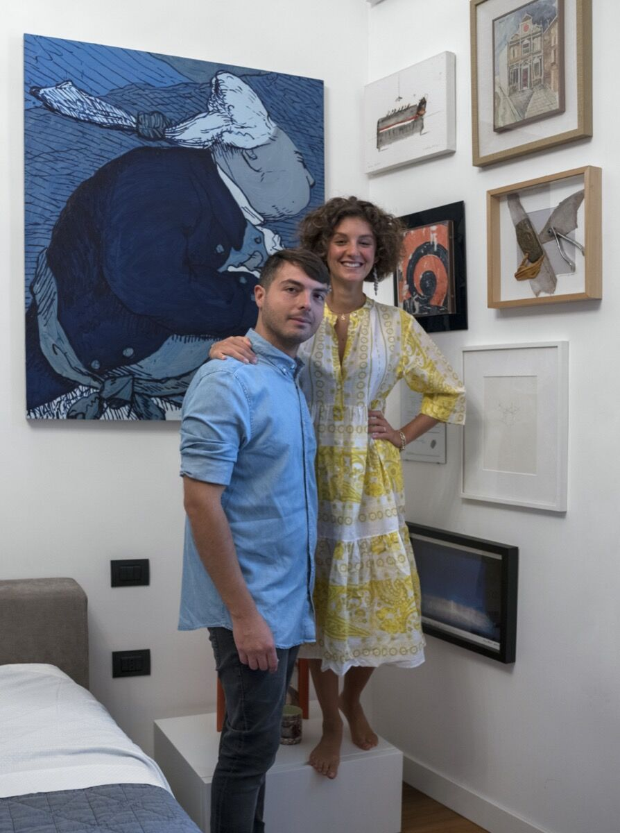 Portrait of Francesco Taurisano and Sveva D'Antonio with their collection. Photo by Maurizio Esposito. Courtesy of Francesco Taurisano and Sveva D'Antonio.