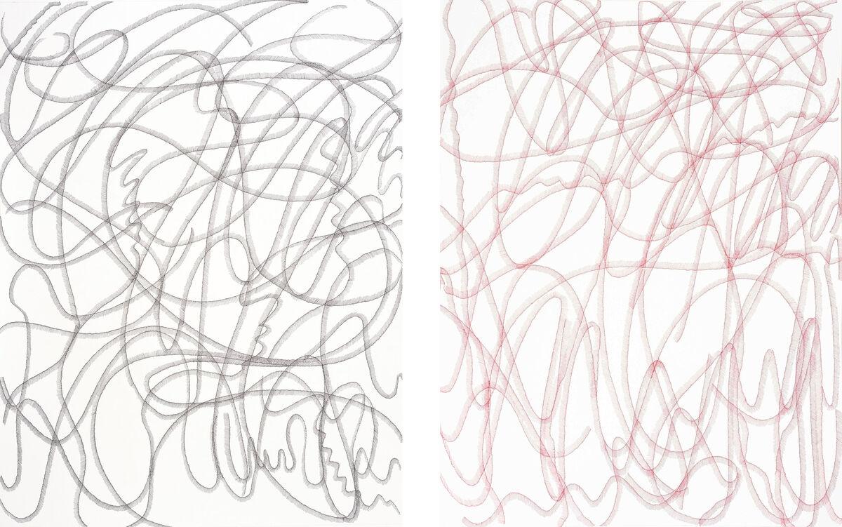 Left: Waqas Khan, Speck of Light II (black), 2015; Right: Waqas Khan,Speck of Light I (red), 2015. Images courtesy of Sabrina Amrani.