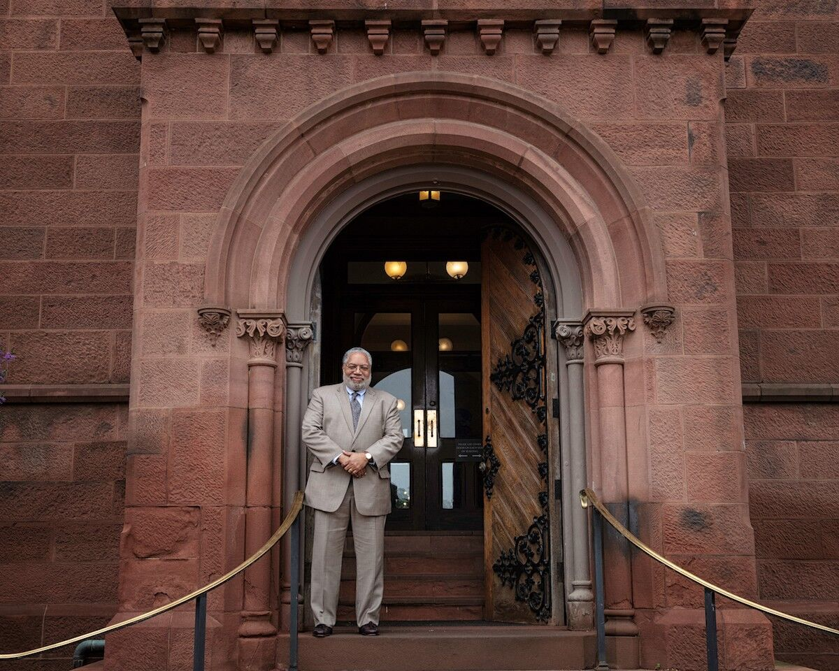 Secretary-elect Lonnie G. Bunch stands at the East Door of the Smithsonian Castle, May 28, 2019. Photo by Jaclyn Nash / Smithsonian Institution.