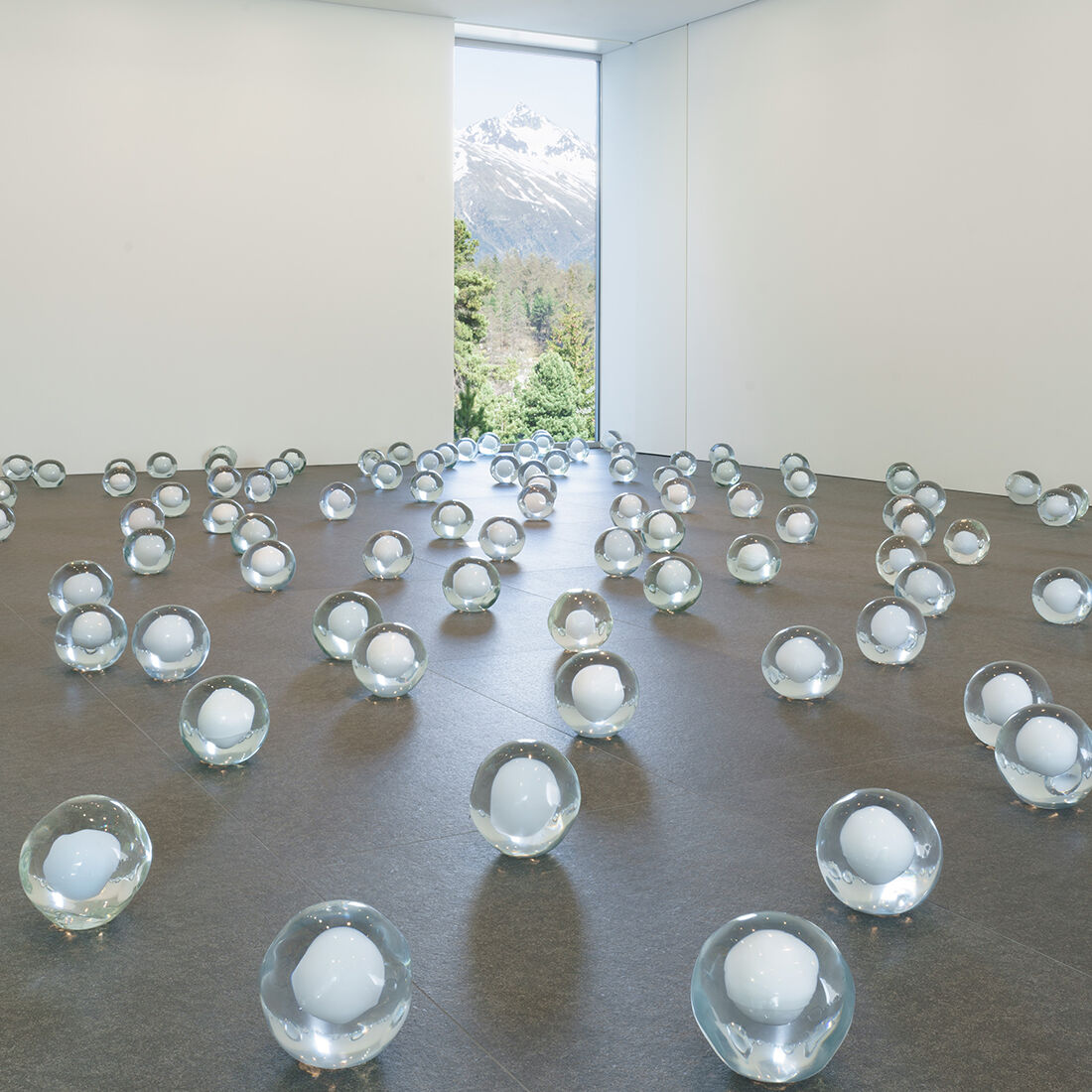 "Installation view of ""Not Vital: 700 Snowballs,"" courtesy of Galerie Andrea Caratsch."