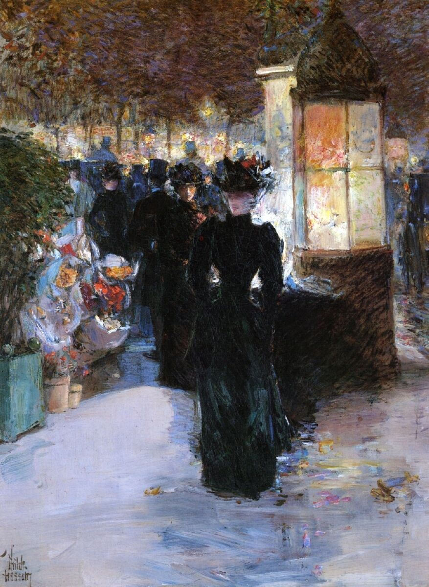 Childe Hassam, A Paris Nocturne, 1889–90. Image via Wikimedia Commons.