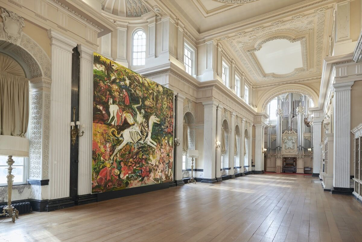 """Cecily Brown, installation view of The Triumph of Death, 2019, in """"Cecily Brown at Blenheim Palace,"""" 2020. Photo by Tom Lindboe. Courtesy of Blenheim Art Foundation."""