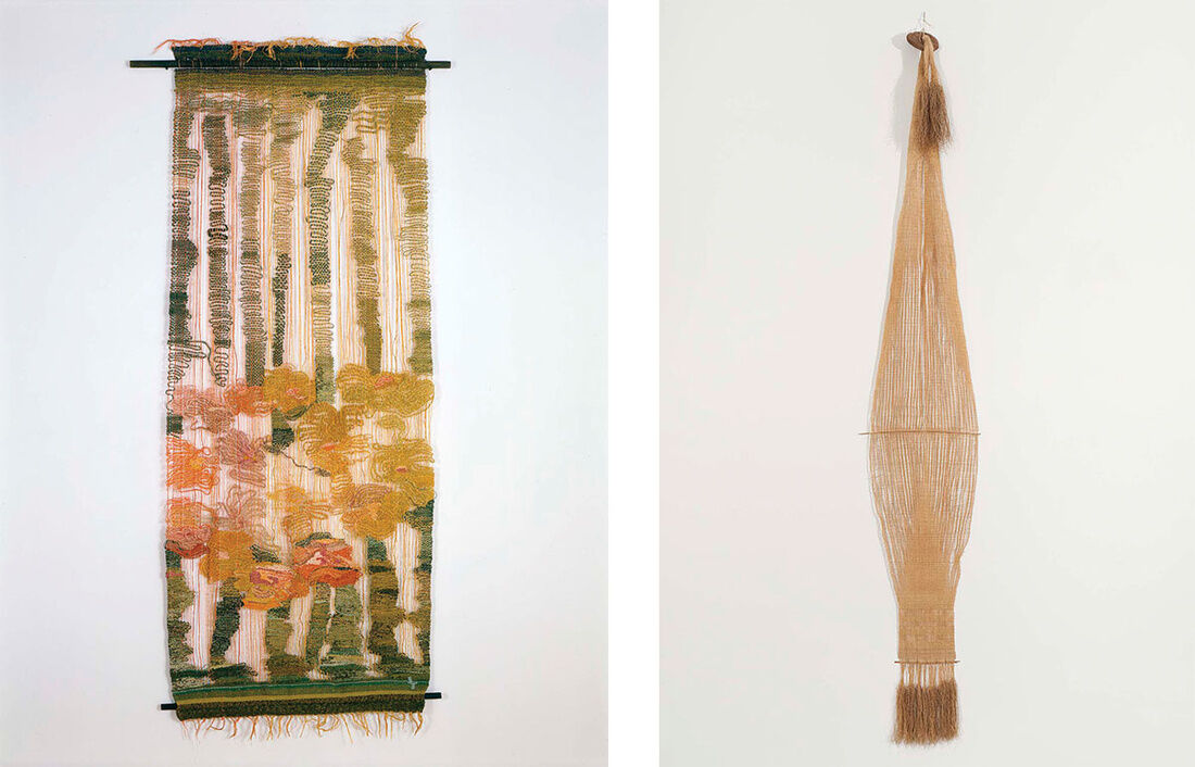 Left: Lenore Tawney, Arbor # I, c. 1958. Right: Lenore Tawney, Shield, c. 1962. Images courtesy of Michael Rosenfeld Gallery LLC, New York, NY.