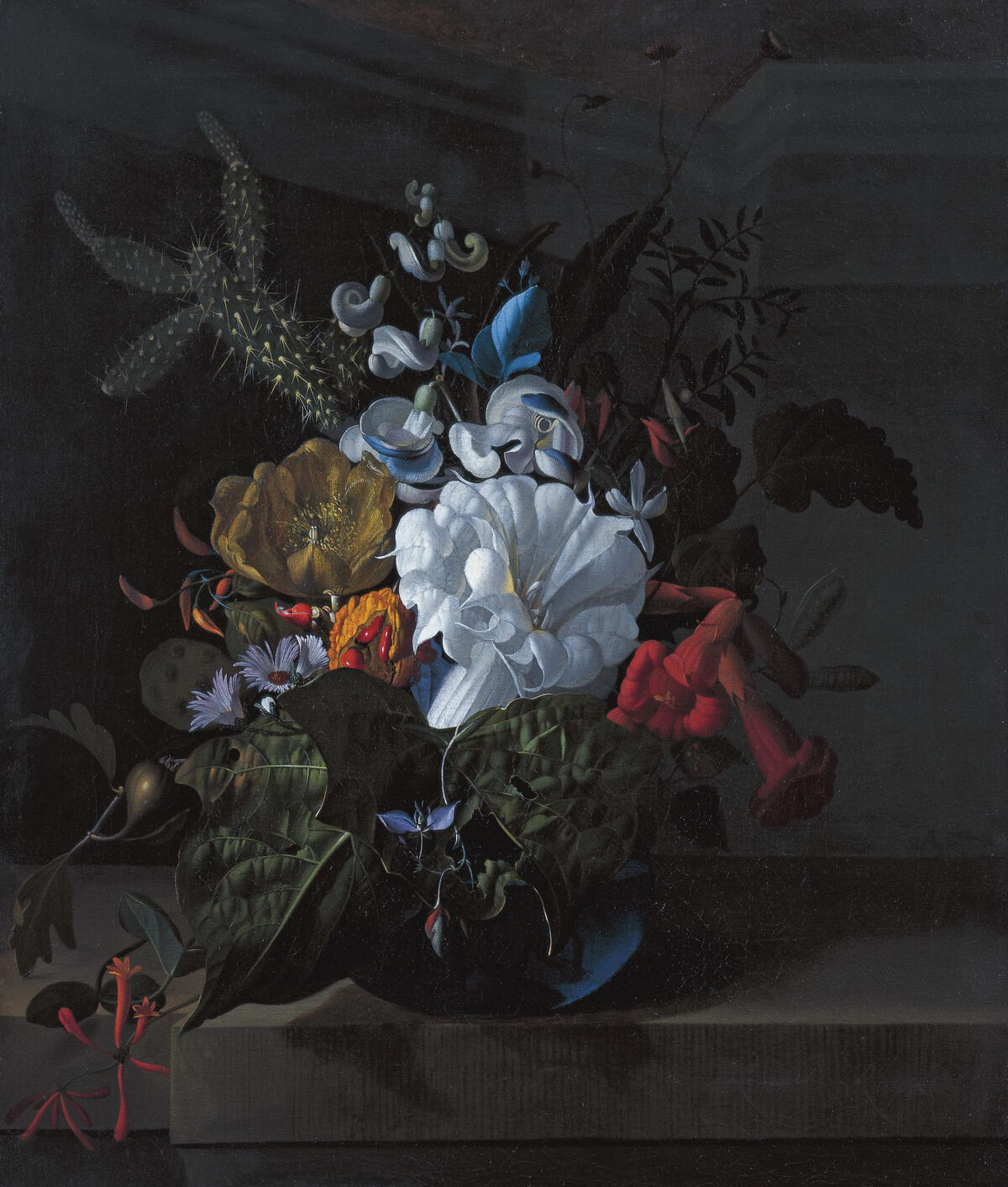 Rachel Ruysch, A still life with devil's trumpet, a cactus, a fig branch, honeysuckle and other flowers in a blue glass vase resting on a ledge, ca. 1690. Image via Wikimedia Commons.