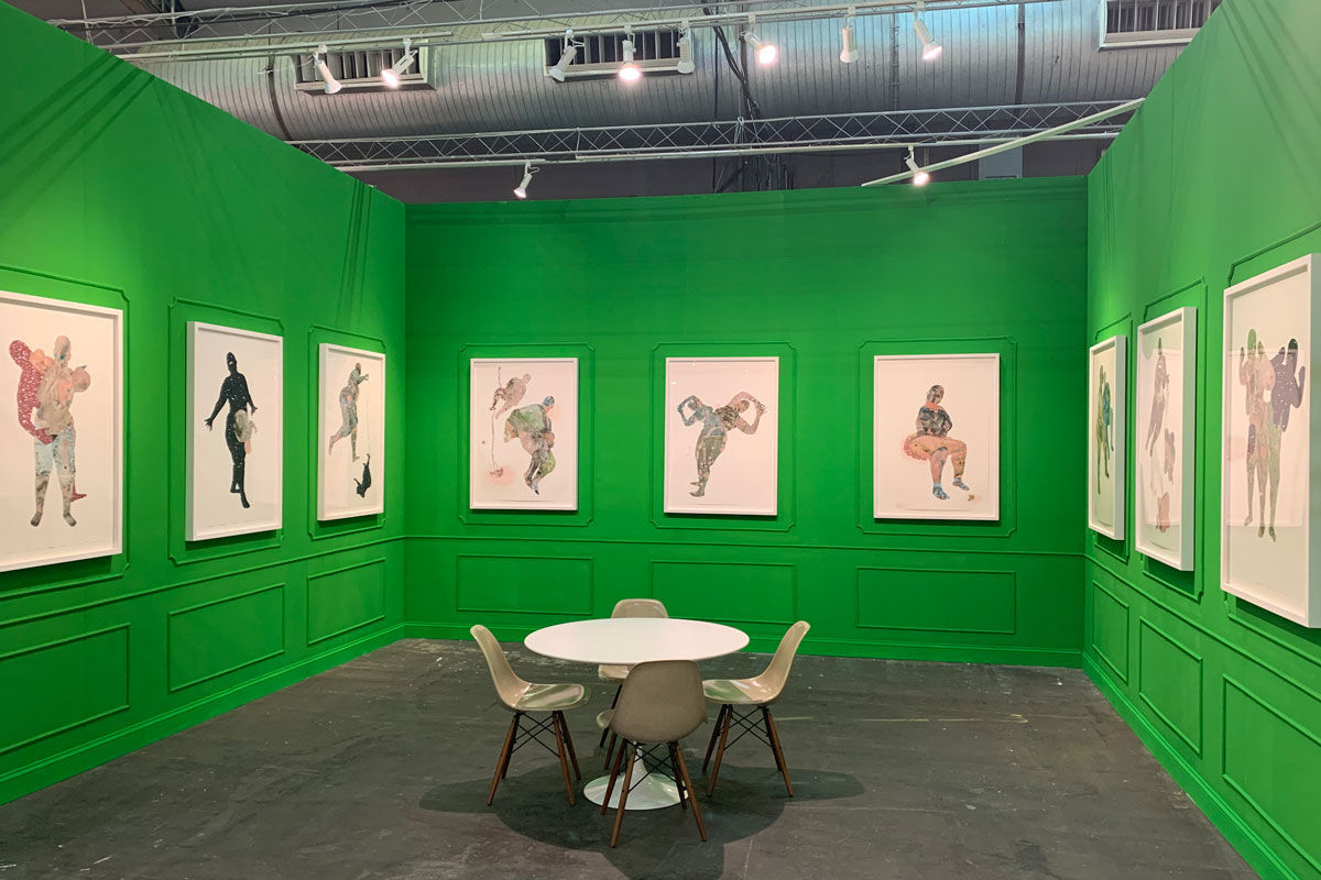 Installation view of Mariane Ibrahim Gallery's booth featuring Florine Démosthène at The Armory Show, 2019. Courtesy of Mariane Ibrahim Gallery.